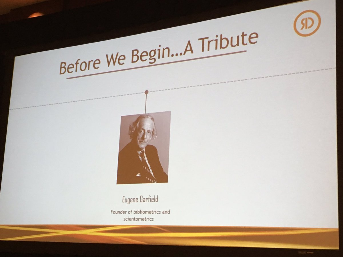 At #slapht, Peter Derycz, CEO/Prez of @reprintsdesk, paid tribute to #EugeneGarfield who is the founder of Info Sci. Dr. G is from #Philly.<br>http://pic.twitter.com/RCssFnAnXj