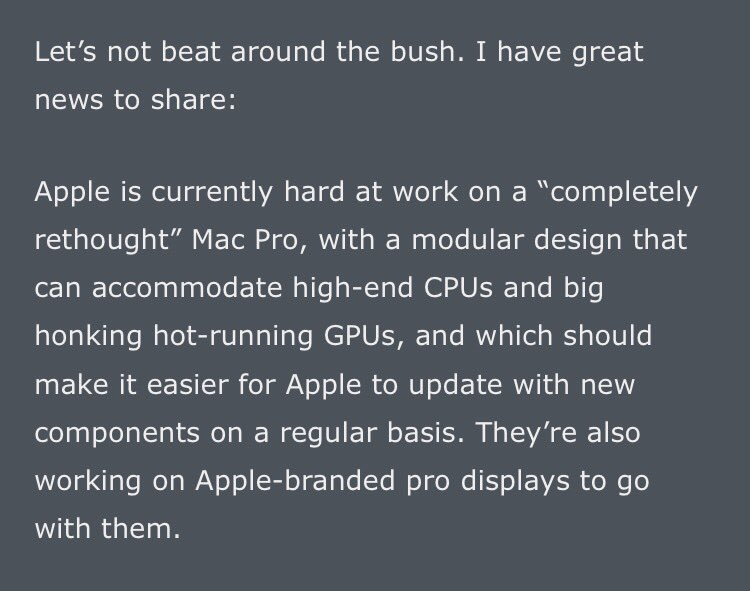 Whoa. From @gruber, huge news m on future of Mac line, via an Apple briefing yesterday. daringfireball.net/2017/04/the_ma…