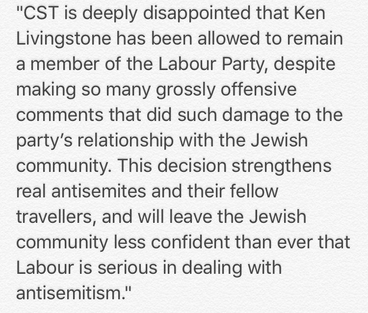 CST is deeply disappointed that Ken Livingstone remains a Labour Party member. Here's our full statement https://t.co/3OP9IglFD5