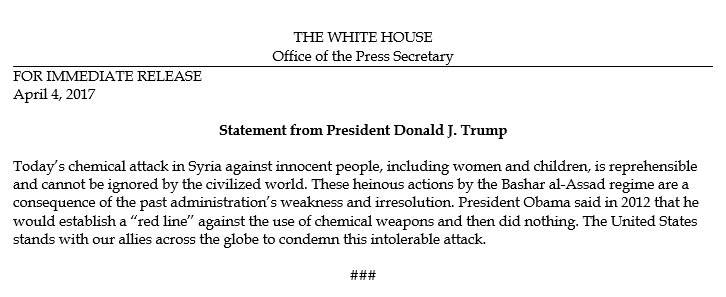 Official White House statement on the chemical attack in Syria.