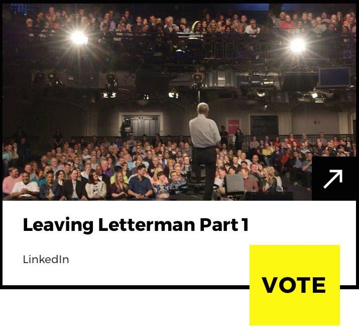 """Leaving Letterman"" is nominated for a Webby Award for Best Reality Film & Video! Vote for it here:"