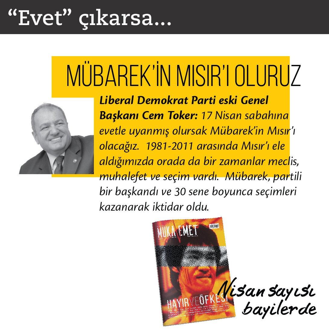 """""""17 Nisan sabahına evetle uyanmış olursak Mübarek'in Mısır'ı olacağız.""""  LDP eski Genel Başkanı Cem Toker Mukavemet'e konuştu."""