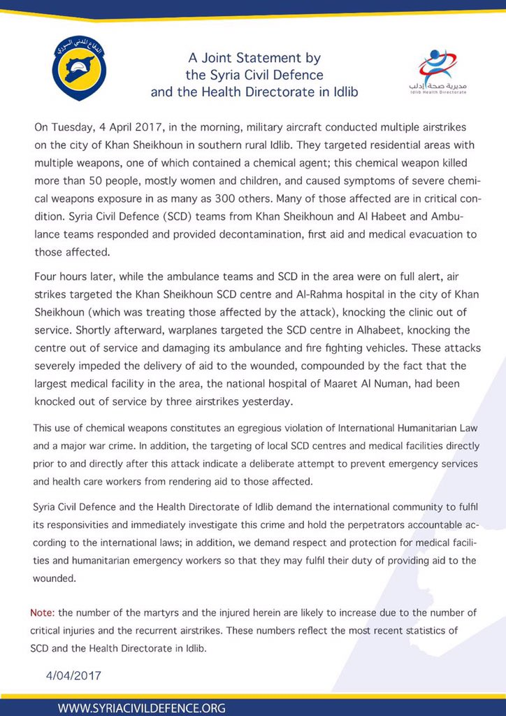 A Joint Statement by the Syria Civil Defence and the Health Directorate in Idlib