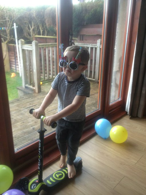 And a happy fourth birthday to the youngest of the trio, our James, seen here earlier as Elton John.
