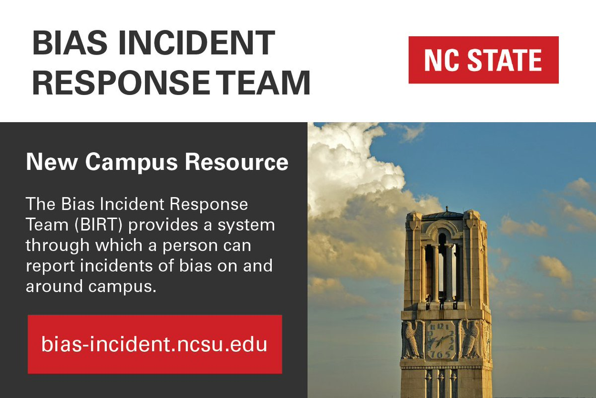 ncstate msa on twitter nc state now provides bias incident reporting and response through its new bias incident response team httpstcotapihbzbpk