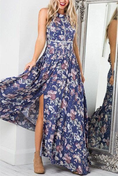 'Barbara' Boho Blue Floral Maxi