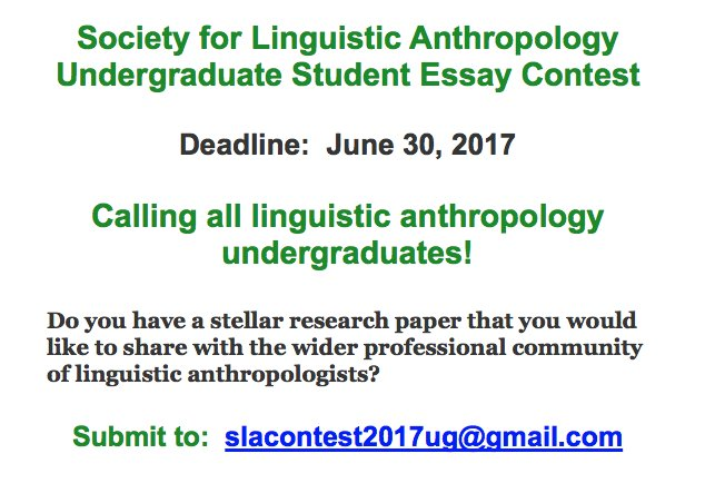 High School English Essay Topics Society For Linguistic Anthropology On Twitter The Sla Undergraduate Essay  Contest Is Accepting Submissions Linganth Follow The Link For Details  Thesis Examples In Essays also Examples Of A Thesis Statement For A Narrative Essay Society For Linguistic Anthropology On Twitter The Sla  Graduating From High School Essay