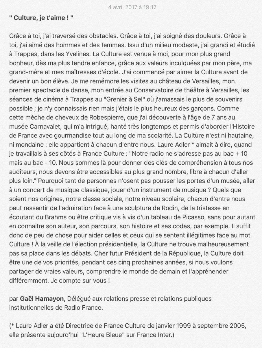 TRIBUNE     'Culture, je t'aime !' #LeGrandDébat #Programme #Culture #...