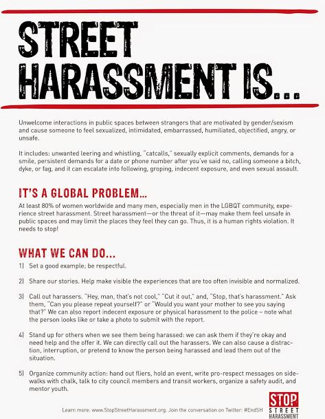 Street harassment doesn't just take place on the literal street -- it encompasses all public spaces. #EndSH https://t.co/c0ktEjDMXL