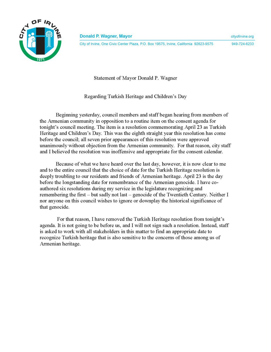Statement from Mayor Donald P. Wagner regarding Turkish Heritage and Children's Day https://t.co/TCBVoh4QNJ