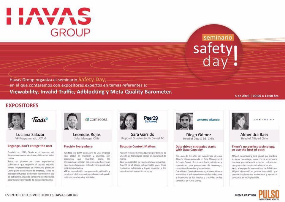 Brand Safety Day, by @HavasGroup Chile. Key topics: #IVT #AdFraud #Viewability #AdBlocking #MetaQualityBarometer.<br>http://pic.twitter.com/aoCyFdymlM