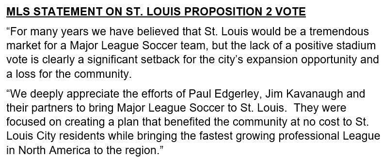 MLS STATEMENT ON ST. LOUIS PROPOSITION 2 VOTE https://t.co/hE4DUsmoFR