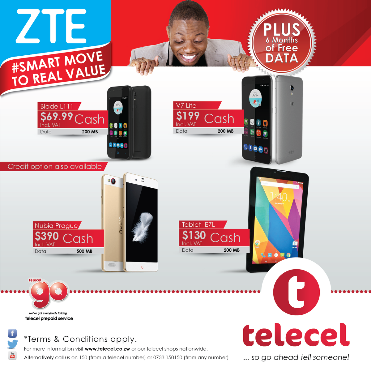 Telecel offers contract packages with bonus benefits