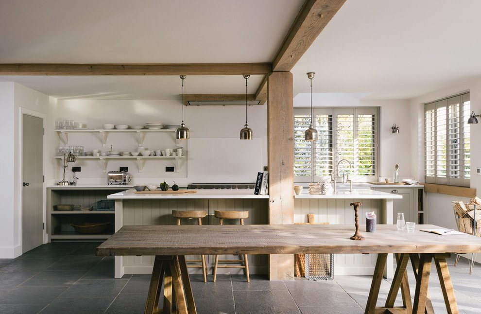 Simple shaker kitchen in a new build barn https www houzz co uk ideabooks 82108255 list kitchen tour a simple shaker kitchen in a new build barn