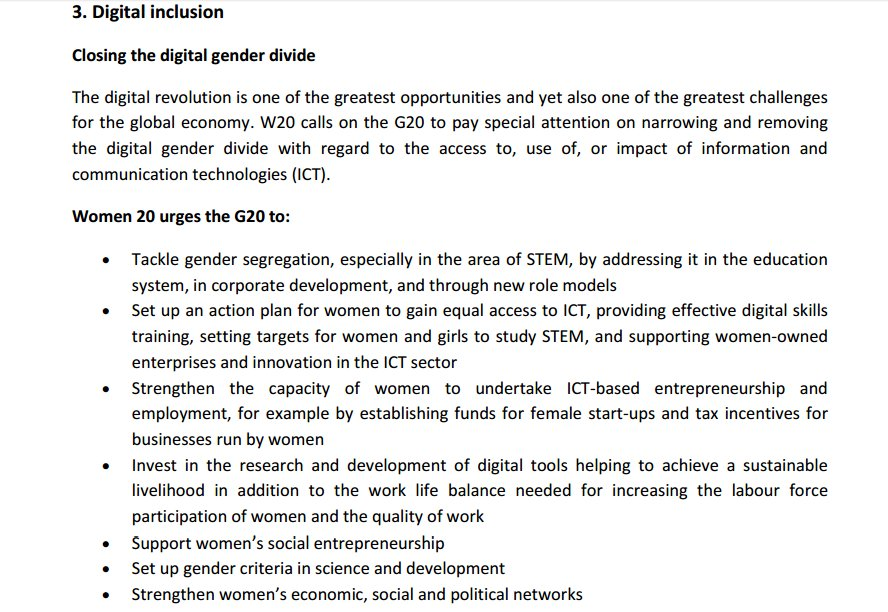 Important for our #W20-#G20Digital Roundtable:  @WomenTwenty_Ger recommendations to #G20 on #digital inclusion  pdf: https://t.co/IOoZ3Mj6YY https://t.co/lUWbGCszWd