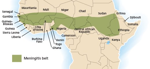 6. Geographically, the extended #Meningitis Belt of Sub-Saharan Africa has the highest rates of the disease.#StaySafe  Photo Source: @WHO https://t.co/us6AbdWq1H
