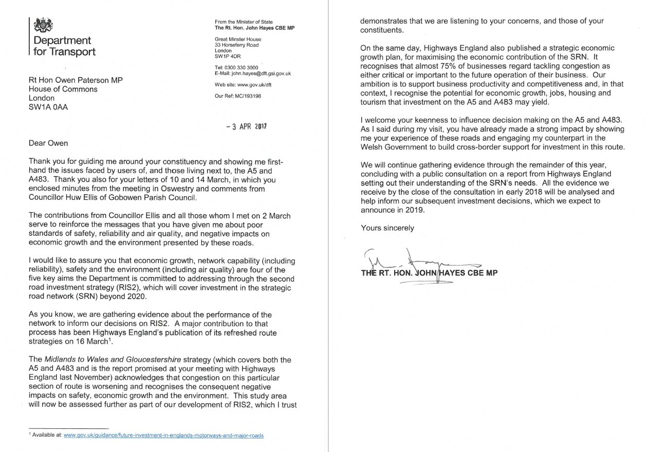 "owen paterson mp on twitter: ""encouraging letter from"
