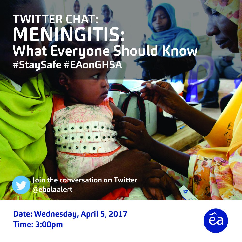 1. Welcome to today's TwitterChat, hosted by @ebolaalert, tagged: Meningitis: What everyone should know, to #StaySafe   Join the discussion. https://t.co/V6KX2fT1RN