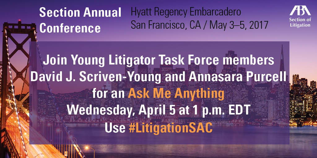 Submit your tweets to @ILEnviroLawBlog / @AnnasaraPurcel1, our Young Litigator Task Force Members #LitigationSAC https://t.co/x0j5zKCbY3