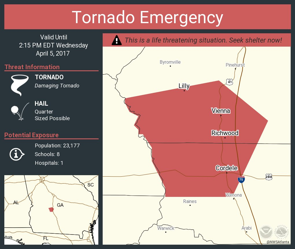 Map Of Vienna Georgia.Nws Atlanta On Twitter Tornado Emergency Continues For