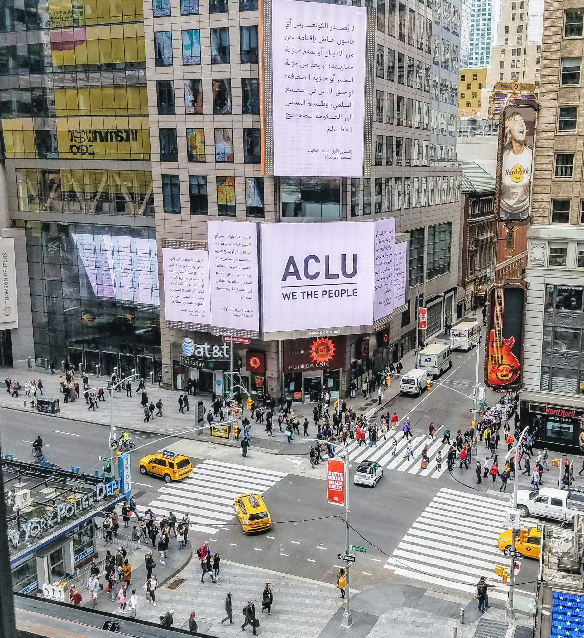 Saw this in Times Square. Good on ya, @ACLU! This is beautiful. :) #WeThePeople #Diversity https://t.co/HMq8Dp80Jy