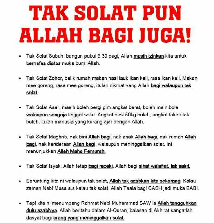 ' Tak Solat Pun Allah Bagi Juga !' https://t.co/8dAHYb8919