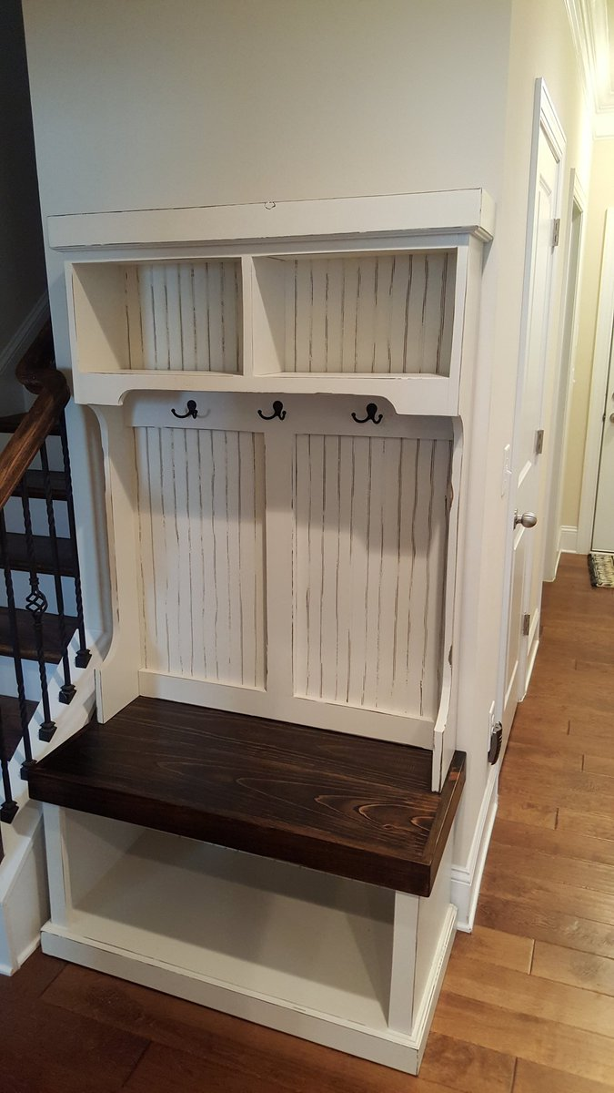 Around The Table On Twitter Custom Built Hall Tree Unit For A Customer In Lexington Sc Antique White Paint With Distressed Lines And Dark Walnut Seat Top Halltree Https T Co Dxaqalx85c