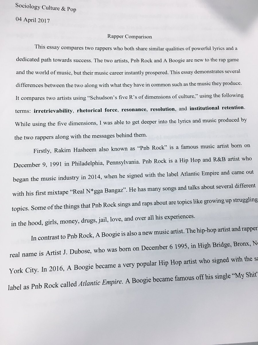 hip hop history essay example According to playwright and hip-hop fan danny hoch, hip-hop is the future of language and culture in the multicultural society it crosses all lines of color, race, economics, nationality, and gender, and hip-hop still has something to say (p.