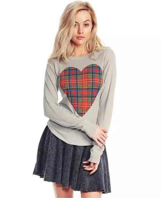 Casual T Shirt Tops Love Heart Shape Long Sleeve Tops