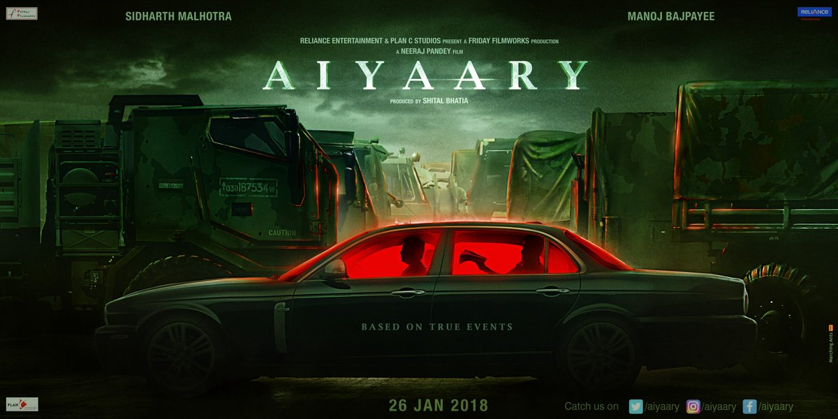 Aiyaary First Look Poster starring Sidharth Malhotra, Manoj Bajpayee