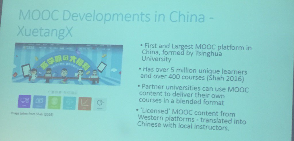 The third largest MOOC platform in the world is Chinese #oer17 https://t.co/cSscUAsLPA
