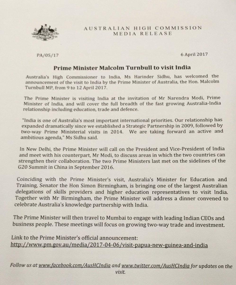 Australian PM @TurnbullMalcolm to visit India. Call on President Mukherjee, bilateral talks with PM @narendramodi