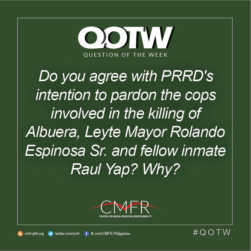 Thumbnail for QOTW: Do you agree with PRRD's intention to pardon the cops involved in the killing of Rolando Espinosa Sr.?