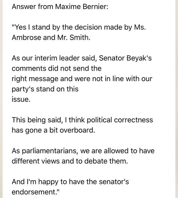 Maxime Bernier's team's response to Senator Lynn Beyak's removal from Aboriginal People's Committee
