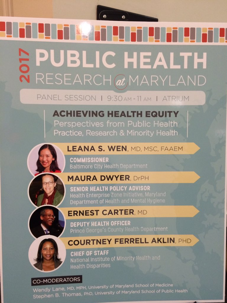 Today at #publichealthMD Research Day @DrLeanaWen is speaking with esteemed co-panelists about achieving health equity https://t.co/ymUJL7baoF