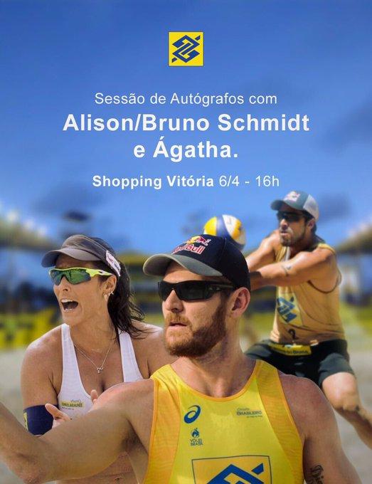 Alô, #TorcidaBrasil de Vitória! Venha pegar seu autógrafo e tirar fotos com @AlisoneBruno e Ágatha. 💛💙#BBnosEsportes
