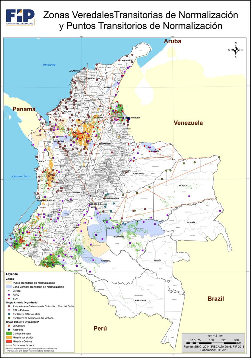 Armed groups, coca farms, (illegal) mining sites, and the peace deal's normalisation zones and points in Colombia — mapped by @ideaspaz.