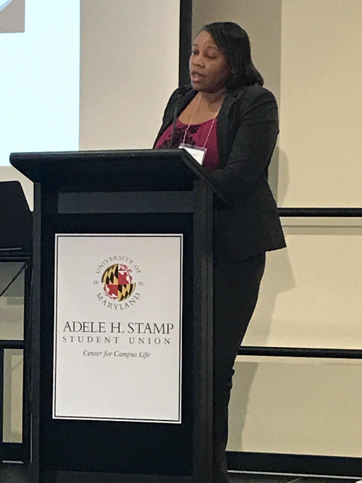 .@Maryland_Alumni Dr. Courtney Aklin from Natl Inst on Minority Health & Health Disparities in panel on health equity. #publichealthMD #nphw https://t.co/Etj5fO8D7u
