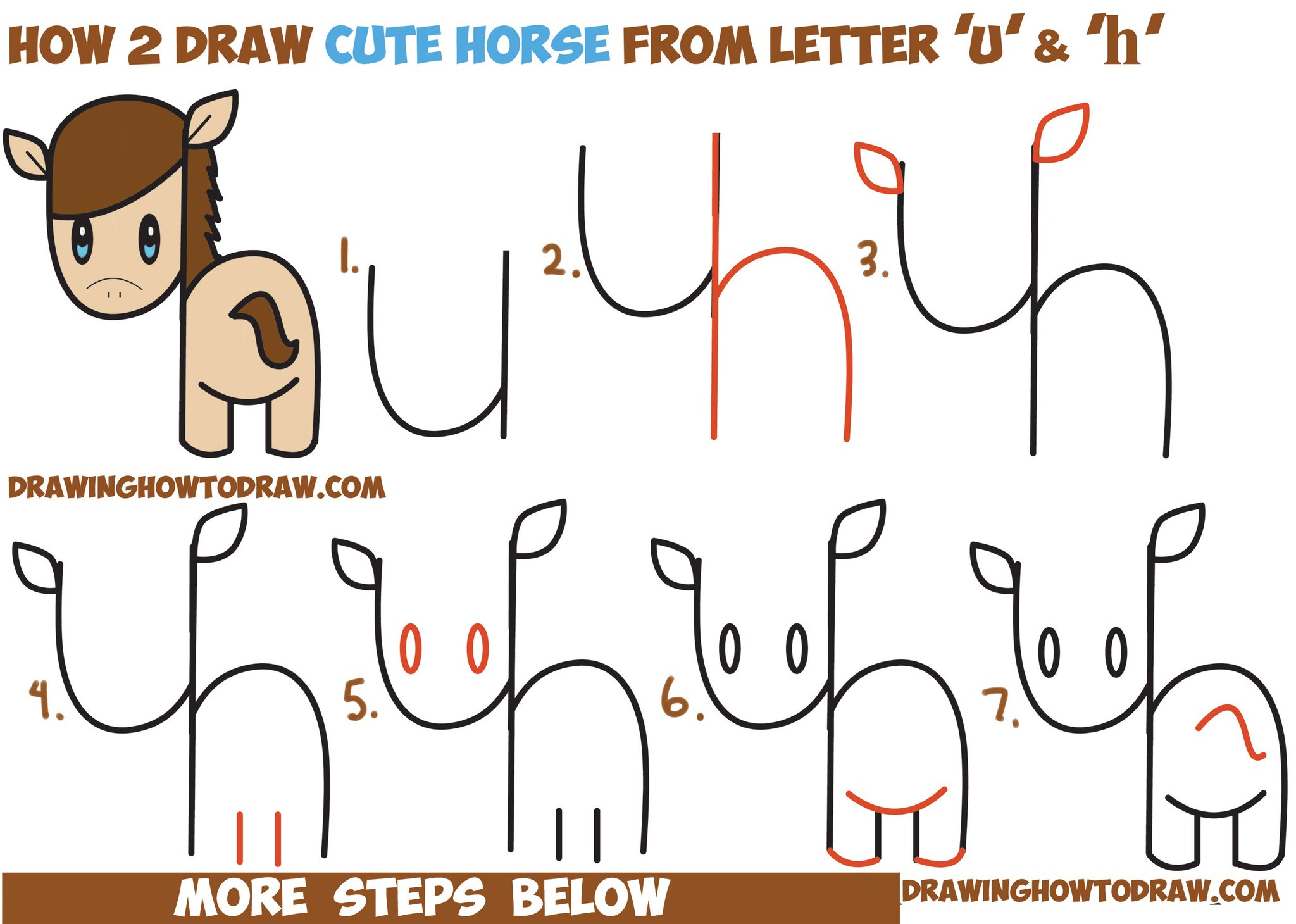 "DrawingHowToDraw On Twitter: ""Draw Cute Horse From Letters"