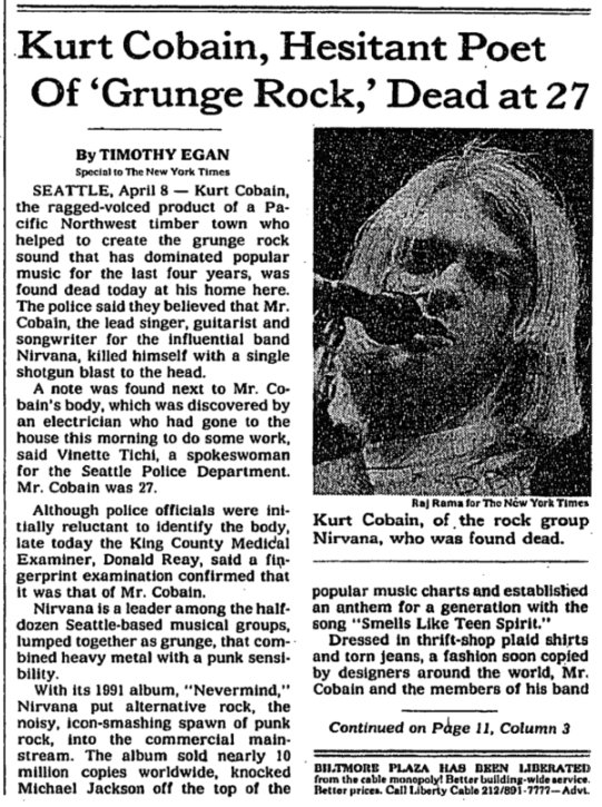 Image result for kurt cobain found dead