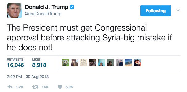 President Trump repeatedly used Twitter to tell Obama in 2013: Don\'t attack Syria