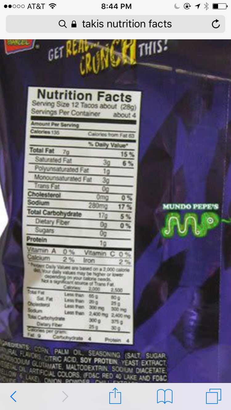 takis nutrition label - takis fuego nutrition facts label