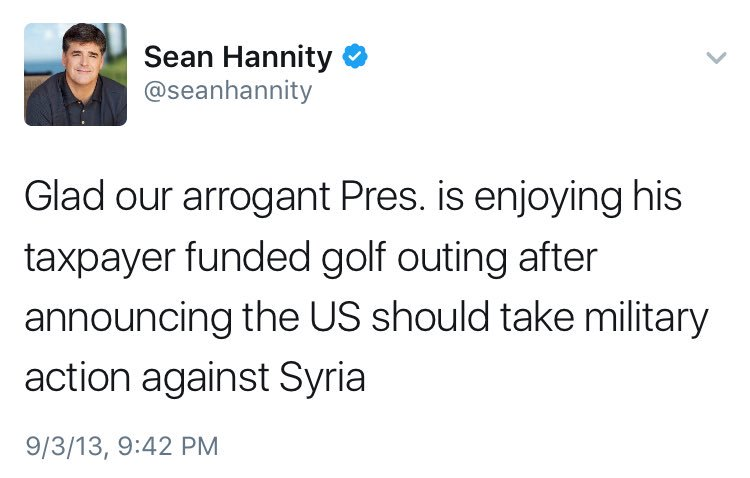 this Hannity tweet from 2013 is so good it should be enlarged, printed on a 10\' by 10\' canvas, and hung in a museum