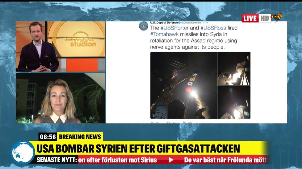 LIVE-TV: USA-korrespondenten @annesofieNYC med i #Morgonstudion med @OscarJulander om USA:s attack i natt: http://www.expressen.se/tv/nyheter/live/live-tv-senaste-nyheterna-fran-expressen-tv-1/…