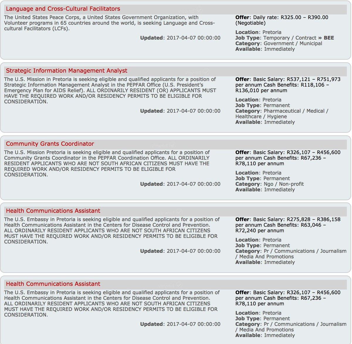 us embassy sa on twitter job vacancies in us embassy consulates