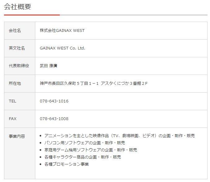 「株式会社神戸アニメストリート」と「株式会社GAINAX WEST」住所も一緒なんやな