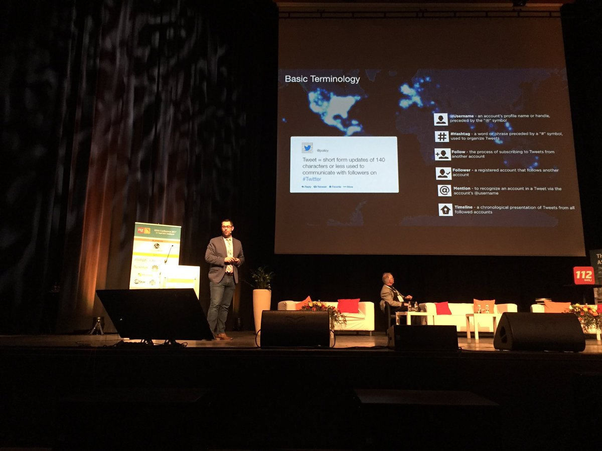 On stage at #EENA2017 @TomTarantino explains how emergency services can use @Twitter #smem #msgu <br>http://pic.twitter.com/iVcmVgM3hV
