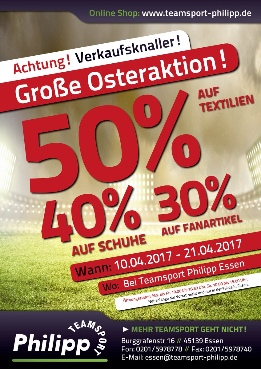 Große Osteraktion in unserer Filiale in #Essen vom 10. bis zum 21. April!  Hier könnt ihr kräftig sparen Sportsfreunde! 💪💪💪 https://t.co/xBa8T0dZki