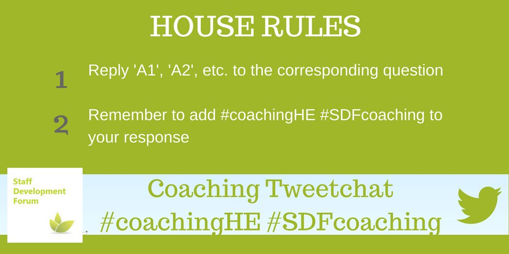 We have a few house rules.  1) Answer Q's with A1, A2, A3  2) Use the hashtags #coachingHE #SDFcoaching  3) Enjoy the conversation! https://t.co/za5hkwwHNw