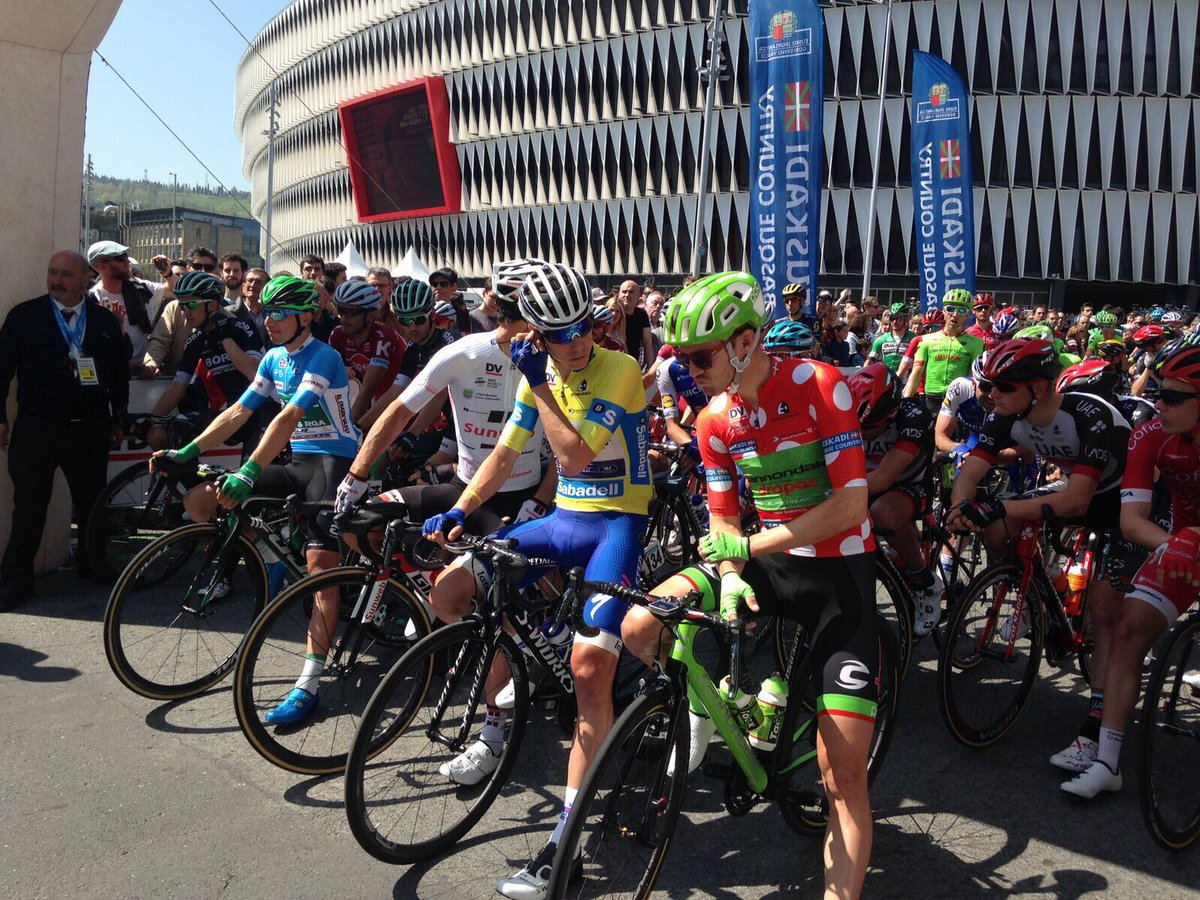 f6a845930 The riders have all signed on and are lined up on the start line in Bilbao  ready to get underway. That s right